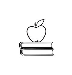 text books and apple hand drawn sketch icon vector image