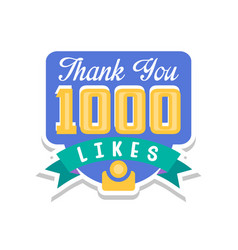 thank you 10000 likes template for social media vector image