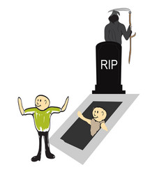 tombstone with zombie hand vector image