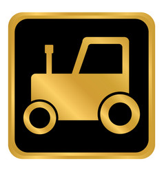 tractor button on white vector image