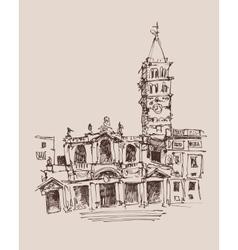 Travel card design basilica papale santa maria vector