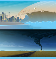 Tsunami and twisting tornado or storm from big vector