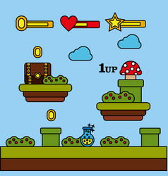 Video game level chest mushroom coins potion vector
