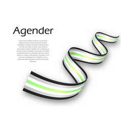 Waving ribbon or banner with agender pride flag vector