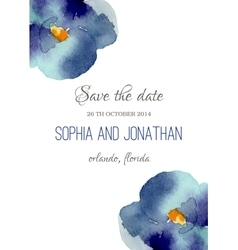 Wedding invitation watercolor with violet flowers vector image