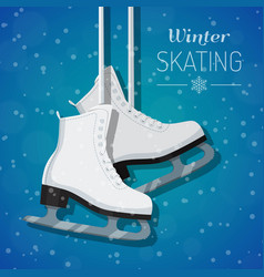 White ice skates on winter vector