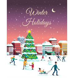 winter holidays city poster vector image