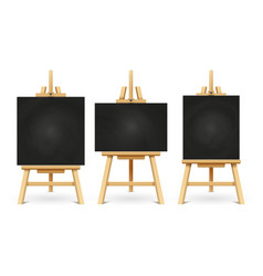Wood chalk easels or painting art boards isolated vector