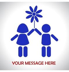 Children are holding flower vector image