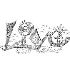 LOVE sketchy doodles vector image vector image