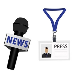 Microphone and lanyard badge vector image