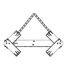 monochrome contour of arrow shape wooden sign vector image