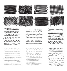 Set of hand drawn doodle banners strokes and ink vector image