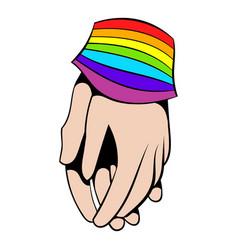 two hands tied rainbow ribbon icon icon cartoon vector image vector image