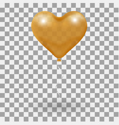 3d realistic helium heart gold balloon holiday vector image