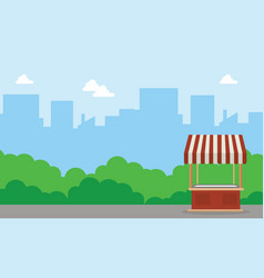 background landscape of street stall vector image vector image