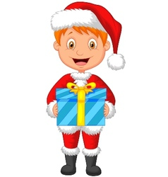Cartoon a boy in red clothes holding gift vector image