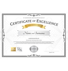Certificate of excellence template with gold vector