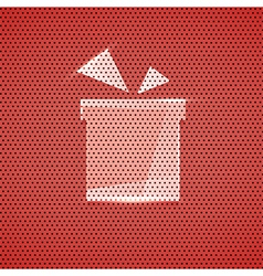 Gift icon metal red texture background vector image vector image