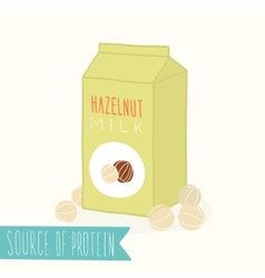Hazelnut milk in a carton pack vector image