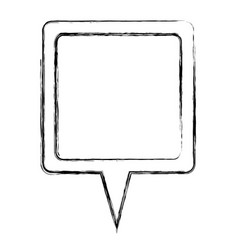 monochrome sketch of square speech with tail vector image