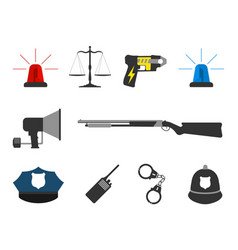 set of police elements equipment icons vector image vector image