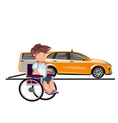 taxi or car for man on wheelchair vector image