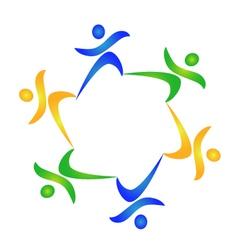 Teamwork healthy people logo vector image