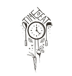 Time to Eat Sign and Label One Color Design on vector image