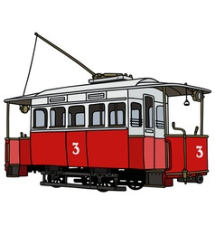 Vintage red tramway vector image