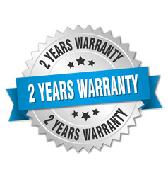 2 years warranty 3d silver badge with blue ribbon vector