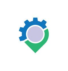 circle pin gear business logo vector image vector image