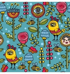 Cute and funny pattern with floral elements vector image