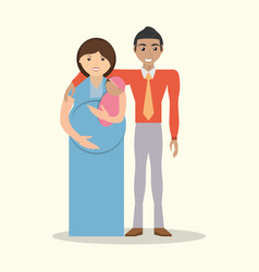 family couple pregnancy and baby vector image