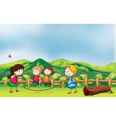 Kids playing jumping rope at the bridge vector image vector image