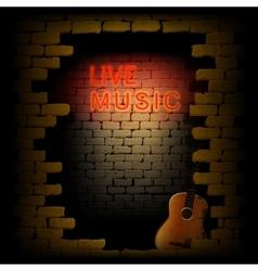 live music neon light in the doorway of brick wall vector image vector image