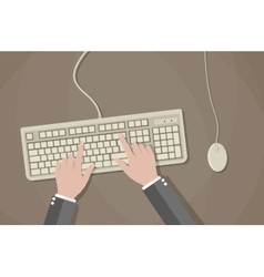 User hands on keyboard and mouse of computer vector image vector image