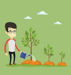 Business man watering trees vector