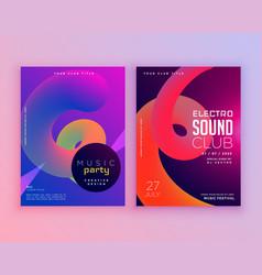 Electro sound club music flyer template design vector