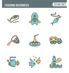 Icons line set premium quality of fishing business vector image