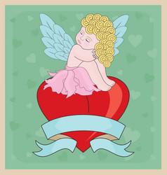 Little Cupid Girl Valentine vector image vector image