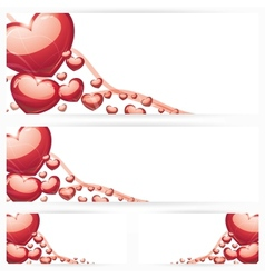 Set of horizontal banners with hearts Background vector image