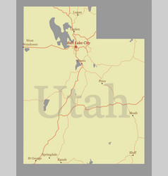 utah accurate high detailed state map vector image vector image
