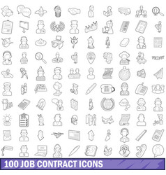 100 job contract icons set outline style vector image