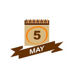 5 may calendar with ribbon vector