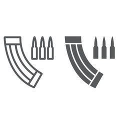 ammunition magazine line and glyph icon army and vector image