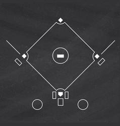 Baseball field template on the blackboard vector
