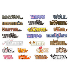 Big set cute cartoon text name animals funny font vector