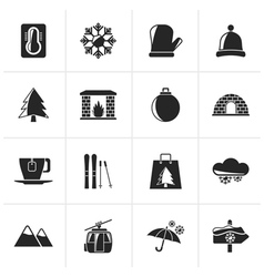 Black Winter Sport and relax icons vector image vector image