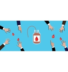 Blood donation concept people team give theirs on vector